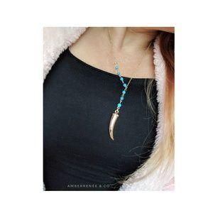 AmberRenée & Co Jewelry - 14k Turquoise Beaded Drop Y Chain Dangle Tusk